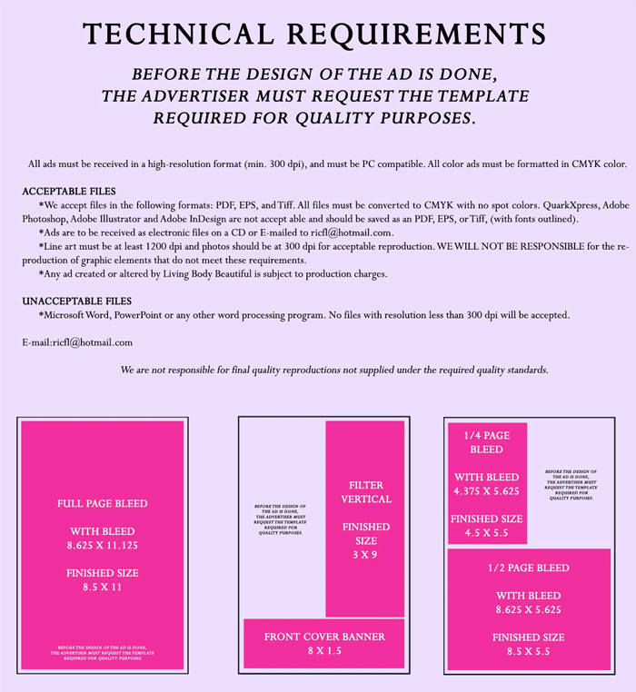 Magazine Techical Requirements,Acceptable files,required quality,